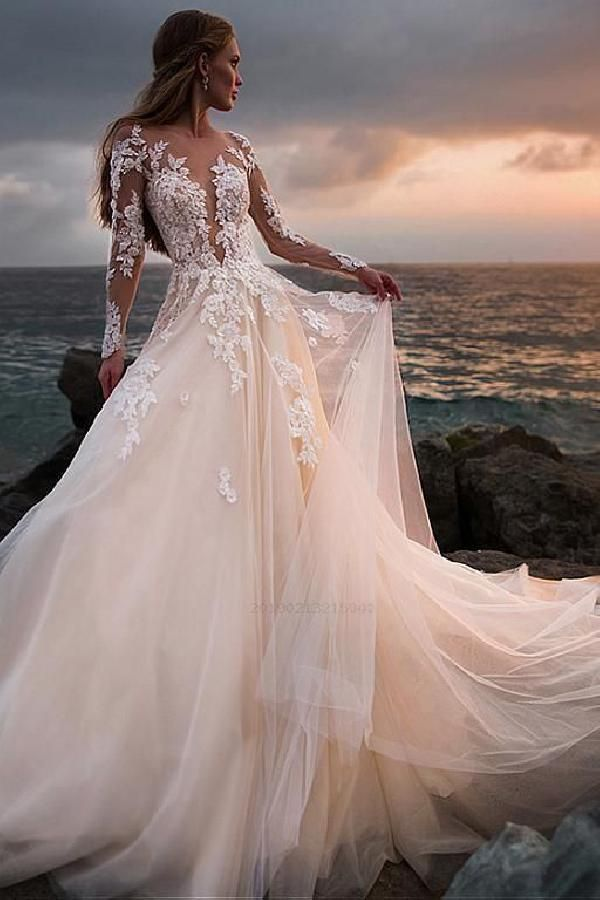 Champagne Tulle Wedding Dress with Illusion Lace Long Sleeves Wedding Dresses La…