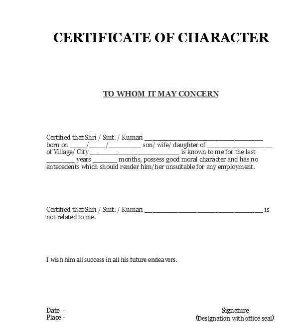 4 Character Certificates With Images Certificate Format