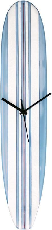 River City Clocks GSB-18 Light Blue and White Glass Surfboard Wall Clock with Red Pinstripe
