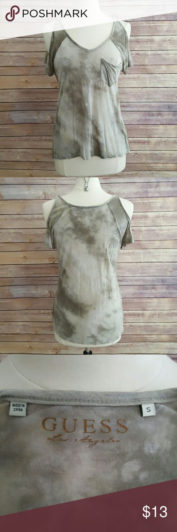 Guess cold shoulder shirt Soft and drapey material. 70% cotton, 30% polyester. Cold shoulders. Guess Tops Tees - Short Sleeve
