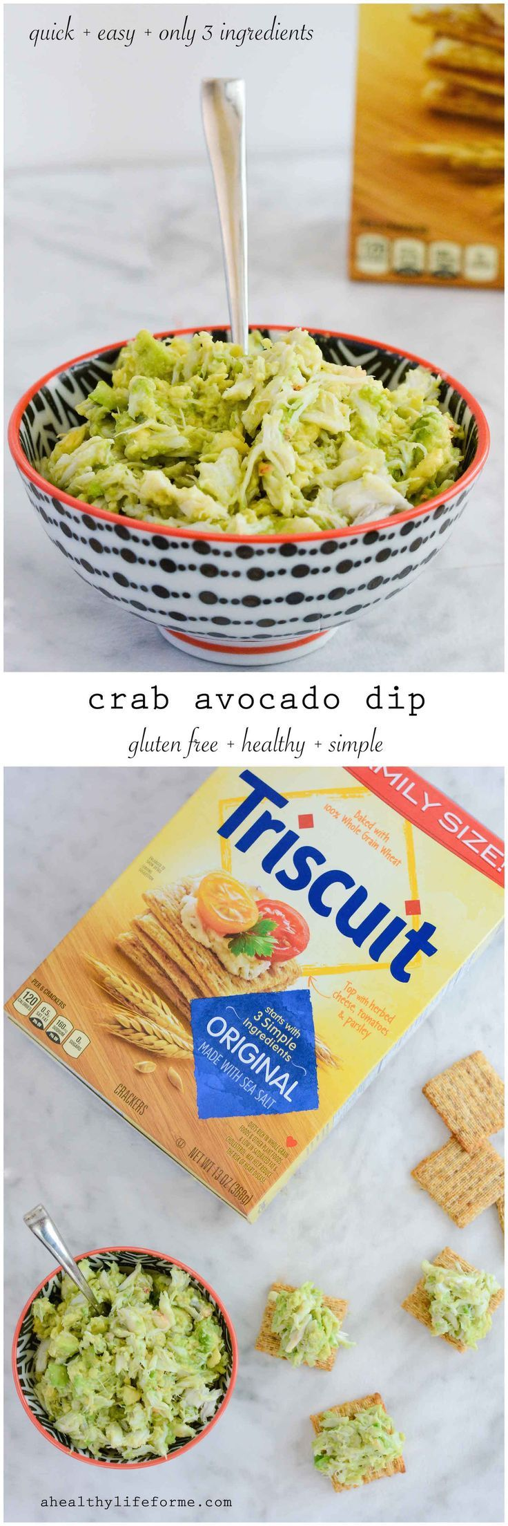 Crab Avocado Dip recipe has only three ingredients, is super quick to assemble and is loaded with flavor, and healthy protein.  Gluten Free and Healthy made with @Triscuit Original Crackers  - A Healthy Life For Me