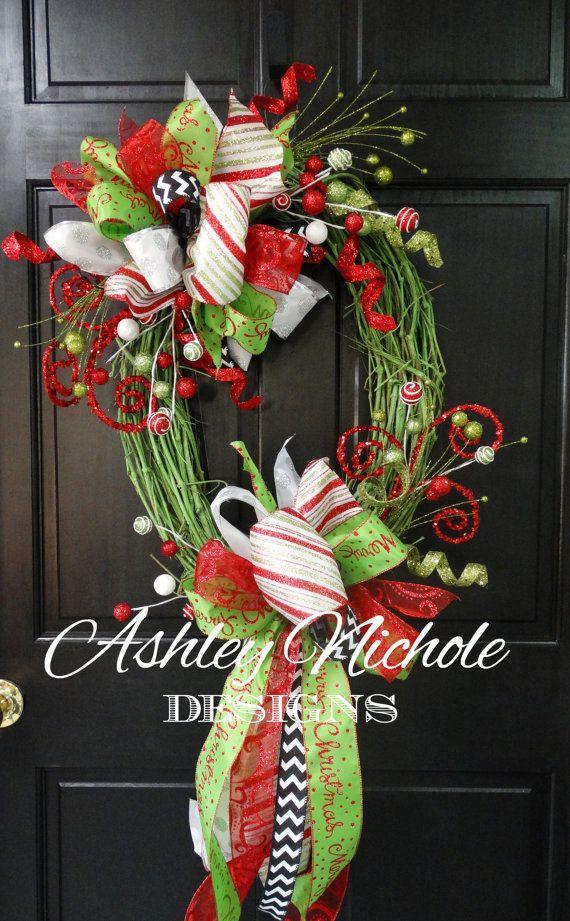Green Grapevine Christmas Wreath Christmas by DesignsAshleyNichole