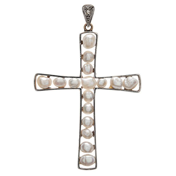 Edwardian Natural Pearl & Gold Cross Pendant | From a unique collection of vintage drop necklaces at http://www.1stdibs.com/jewelry/necklaces/drop-necklaces/
