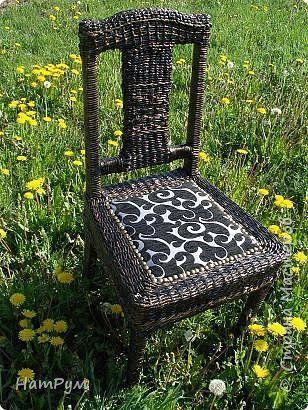 Декор предметов Плетение Плетеный стул и рабочие моменты Трубочки бумажные фото 1