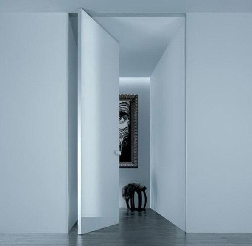 white pivot doors
