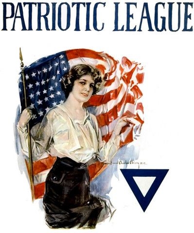Artist Howard Chandler Christy illustrated this WWI poster for the Patriotic League, showing a young woman with a U.S. flag, 1918. The Patriotic League organized young women for wartime activities, in