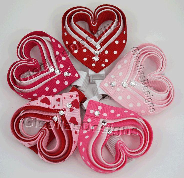 Valentine's day Heart Ribbon sculpture bow w / original swarovski crystal/ hair clip. $7.50, via Etsy.