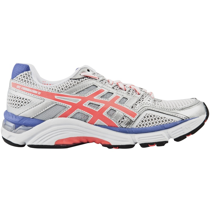 The Asics Gel-Foundation 11 Women's Running Shoe. In Silver, Pink and Purple