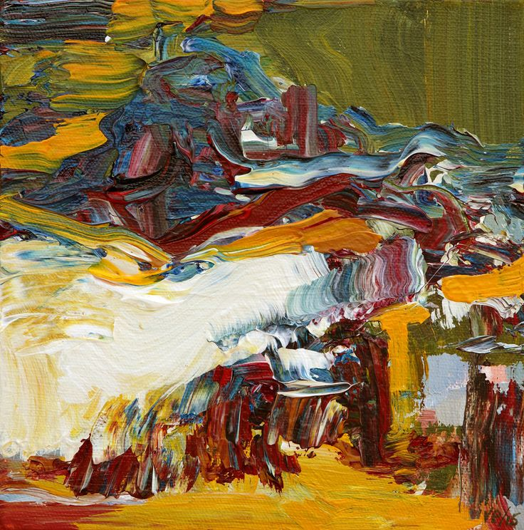 Abstract Painting by Veronica Plewman - NORTHERN SUMMER BEACH, 2015 Acrylic on Canvas 8˝ × 8˝
