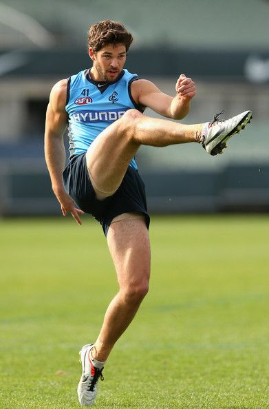 Levi Casboult of the Blues kicks during a Carlton Blues AFL training session at Visy Park on May 31, 2013 in Melbourne, Australia.