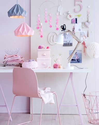 office - origami paper lamps - soft colors - pink - pastel