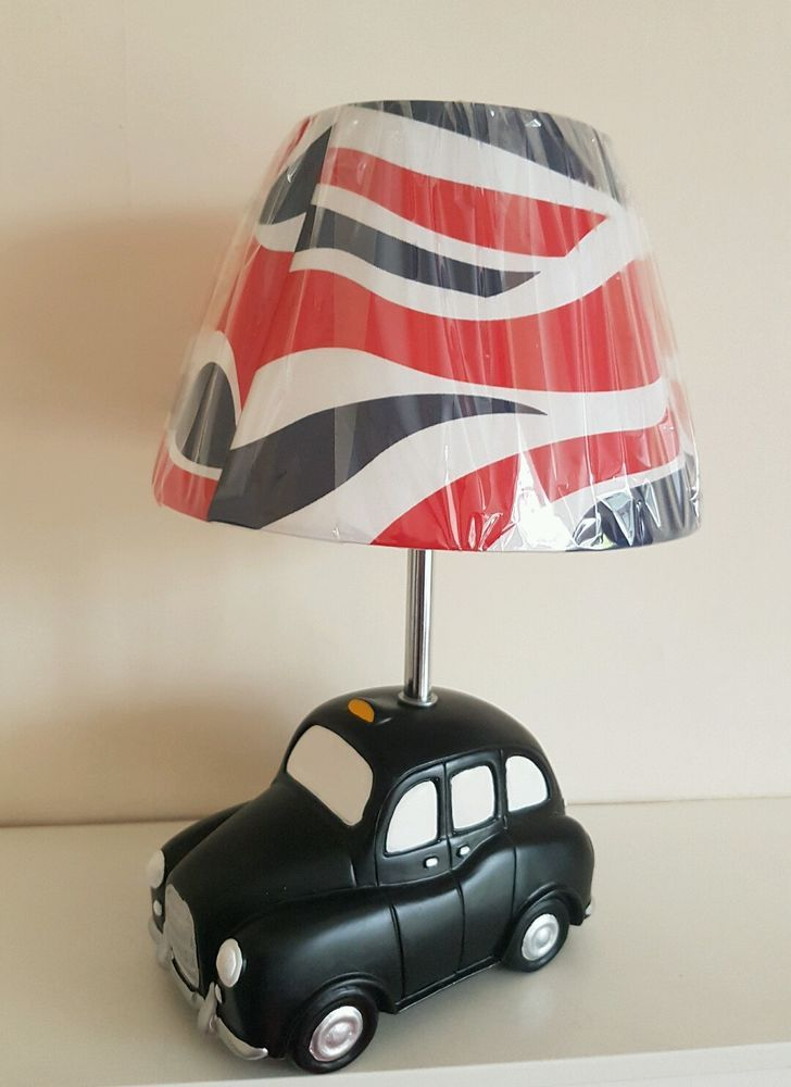 Exclusive Novelty Lamp Featuring Black Cab For Table Or