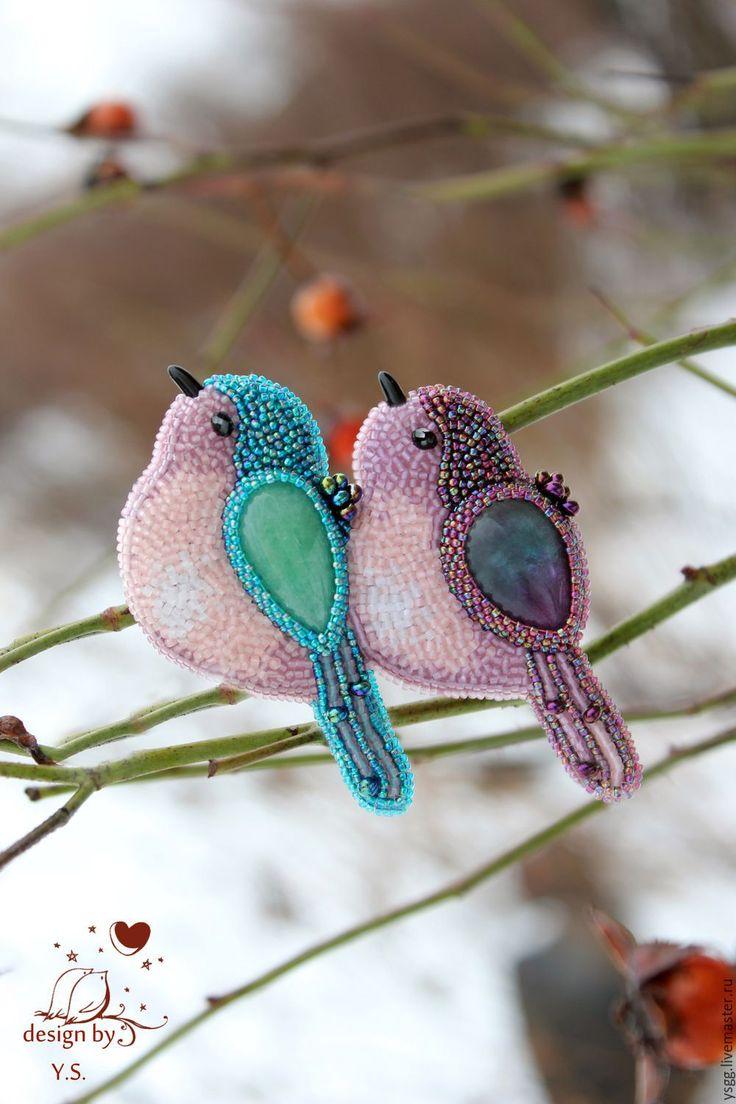 """Купить Брошь """"Влюблённые птички"""" - брошь, брошь птички, брошь с камнем, брошь…"""
