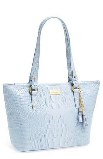 $255, Light Blue Leather Tote Bag: Brahmin Asher Medium Tote. Sold by Nordstrom. Click for more info: https://lookastic.com/women/shop_items/165947/redirect
