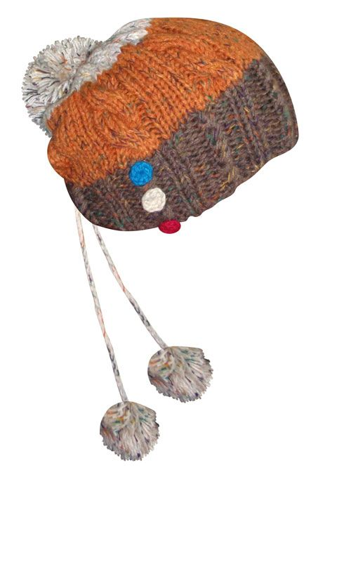 woollen beanie with tassels and coloured buttons._fashion woman accessories.