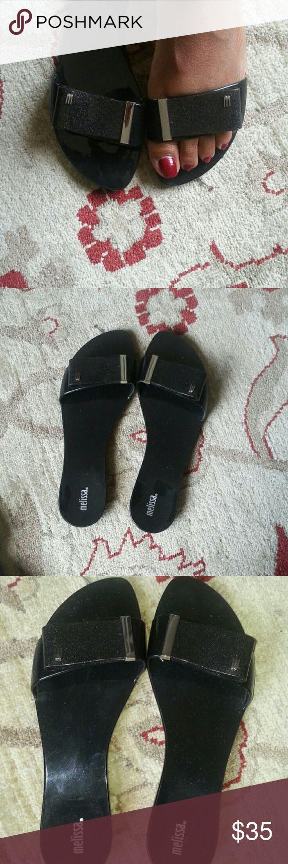 Melissa  Flip flops  sparkling  black Jelly Flats Never  worn Melissa Shoes