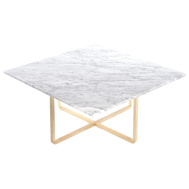 Ninety sofabord 80x80x35 cm, hvit marmor/messing i gruppen Møbler / Bord / Sofabord hos ROOM21.no (130019)