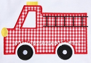 firetruck applique for birthday boys t-shirt