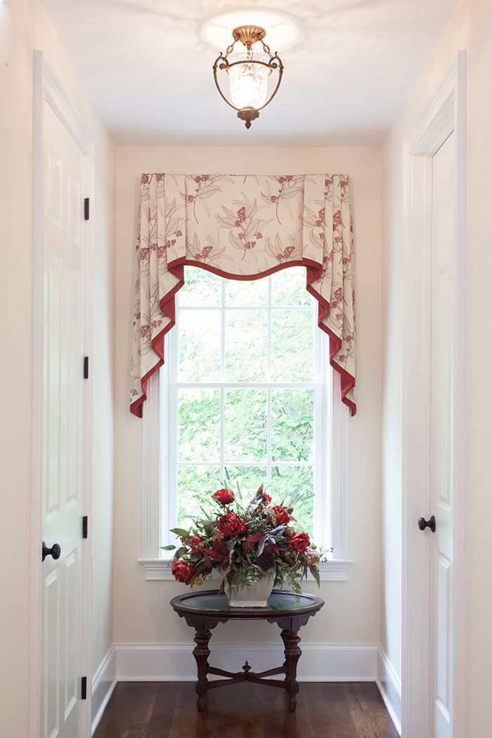 traditional window treatment. crimson and cream.