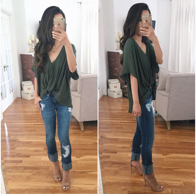Extra Petite   Petite Fashion, Style Tips and DIY. Khaki top+ripped jeans+beige ankle strap heeled jeans. Summer outfit 2016