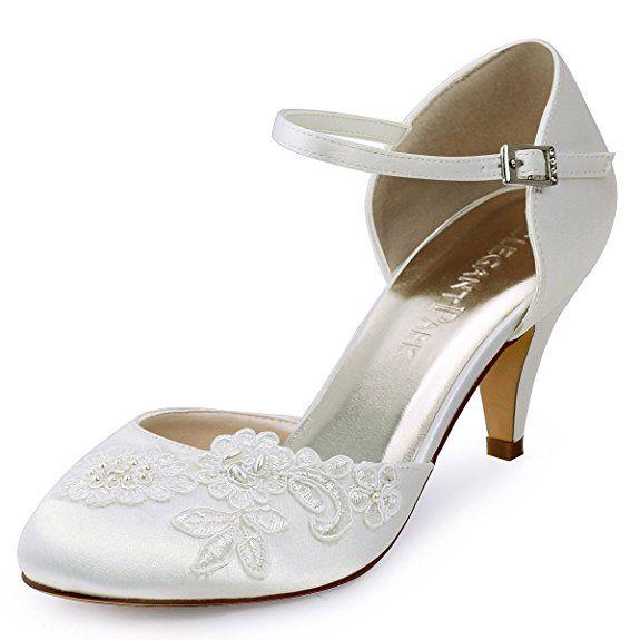 Vintage Hochzeit Schuhe Elfenbein Round Toe Lace Strass Brautschuhe (EU40, Elfenbein) Emily Bridalwear