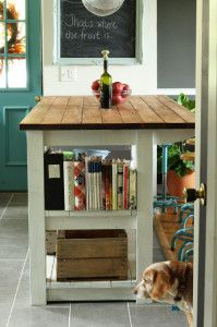 For the School Room/Den. As a classroom desk. Love it, and the stools. {Vintage Home Decor Eclectic House Tour}