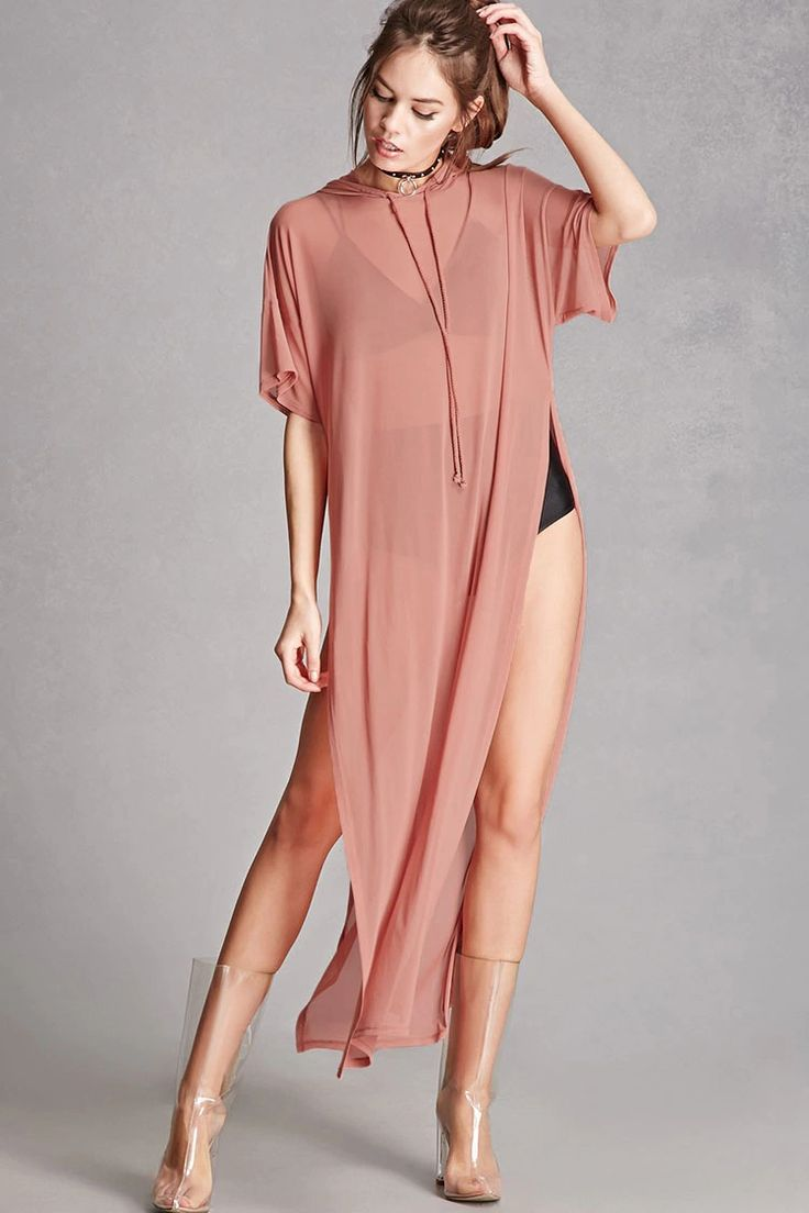 A maxi dress featuring a sheer mesh fabric, a drawstring hood, dropped shoulders with short sleeves, and dramatic side slits. This is an independent brand and not a Forever 21 branded item. (Layering undergarments not included.)