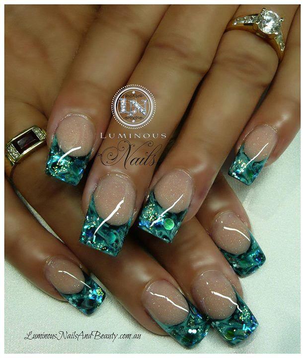 Aqua Nail Art: Omg They Look Like Gems Love These Nails!! Acrylics# Nail