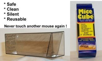 Mice Cube 4 Pk - Reusable Humane Mouse Trap by Mice Cube Mouse Trap. $9.99. Easy to Use - Catch & Release. Safe, Clean, Silent, Re-usable. Humane live no-kill mouse trap. One way swinging door. The Only Mousetrap You'll Ever Use. 4 PK Mice Cubes - Safe, Clean, Silent, Reusable - IT WORKS!!  The Mice Cube is a molded plastic mousetrap with a door that is free-swinging in an inward direction only. Small holes in the door allow the odor of the bait to escape to attract the m...