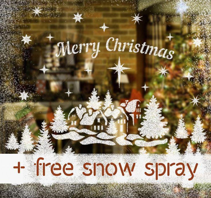 Merry Christmas sign Stencils Kit for Windows decor. Christmas Décor Stencils. Free Snow Spray Included.
