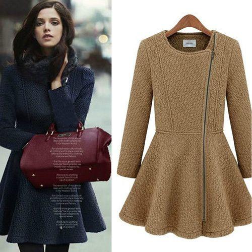Spring 2014 European Style Desigual Women's Coats Sobretudo Feminino Inverno Wool Tweed Long Jacket Slim Abrigos Mujer Casaco $58.87