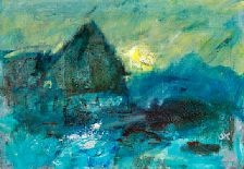 830/725 - Oluf Høst: Bognemark, low winter sun. Signed OH. Oil on canvas. 46 x 65 cm.