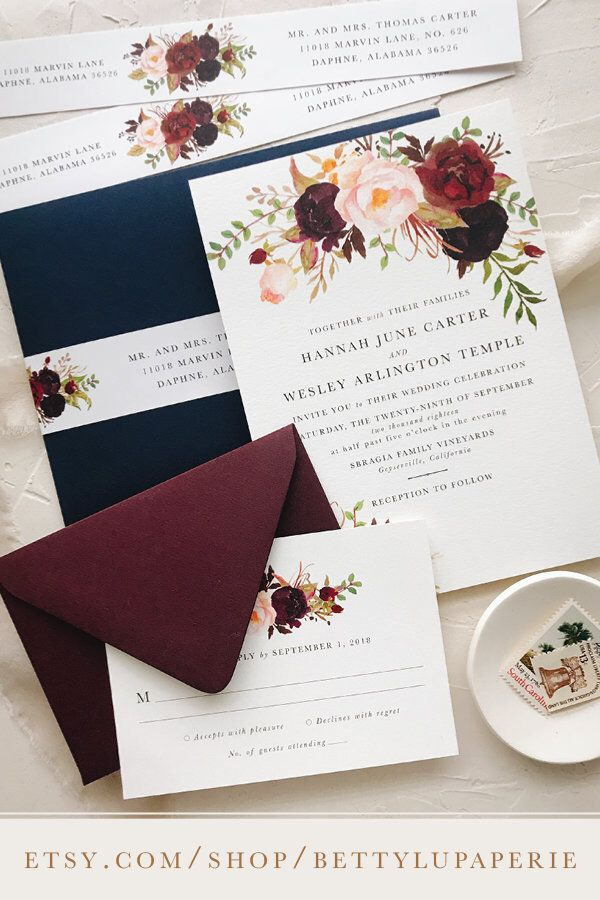 Navy Burgundy Floral Wedding Invitation Bohemian Fall Wedding Med Billeder Bryllupsfarver Invitationer Bryllup Invitationer