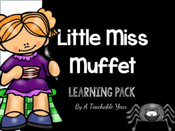 Little Miss Muffet  is a great print and go back for school or home! With 28 pages of printables, your life will be made easier by ju st printing off the worksheets you need to teach the lesson. This pack focuses on the following skills or concepts: identifying important events, retell, graphic organizers, vocabulary, illustrations, details, KWL, plot, sequence, descriptions, characters, comprehension, major events, and more!