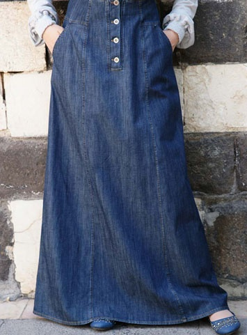 SHUKR Bilqis Denim Skirt- Flattering and streamlined long jean skirts.