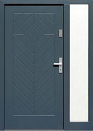 Drzwi zewnętrzne z doświetlem dostawką boczną model  543,3 w kolorze antracyt