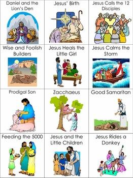 26 of the most popular Bible stories for children on printable picture cards.