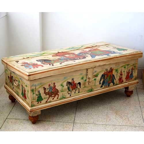 Good Beautiful Hand Painted Solid Mango Wood Storage Trunk That Has The Beauty  To Be Used As A Coffee Table Also.