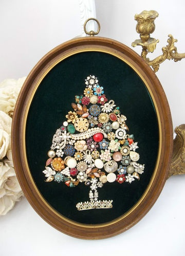 Antique Vintage Rhinestone Jewelry Christmas Tree Oval ...