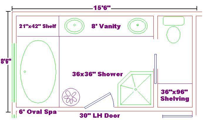 8 5 Bathroom Floor Plans: Master Bath 8x15 Ideas Floor Plan With Oval Spa And Shelf