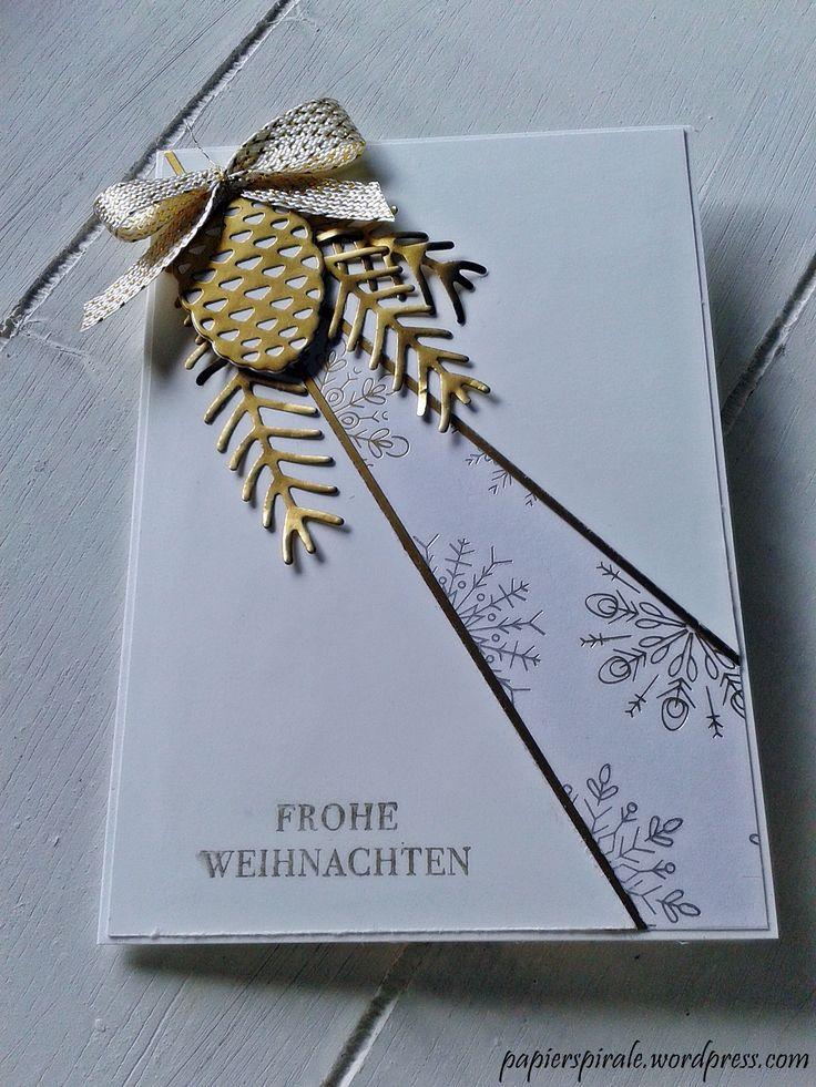 Weihnachtskarte Gold Tannenzapfen
