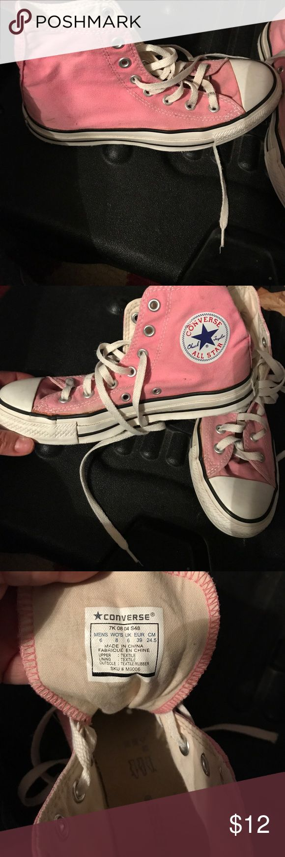 Converse Pink high top converse in good used condition. Size 8 women's Converse Shoes Sneakers