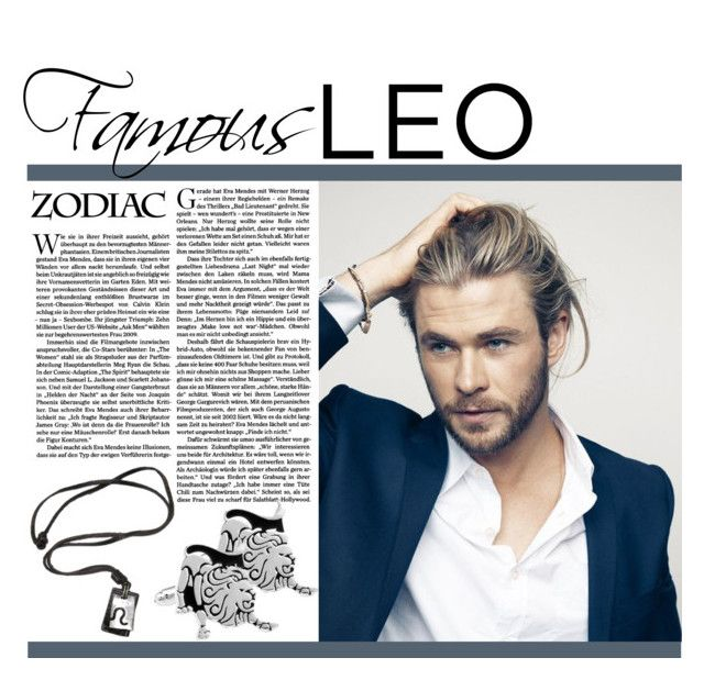 """Chris Hemsworth: Famous Leo"" by mmmartha ❤ liked on Polyvore featuring birthday, zodiac, menswear, leo and zodiacjewelry"