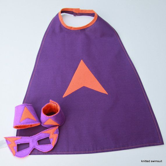 Super hero cape mask and cuffs age 4 to 7 by knittedswimsuit