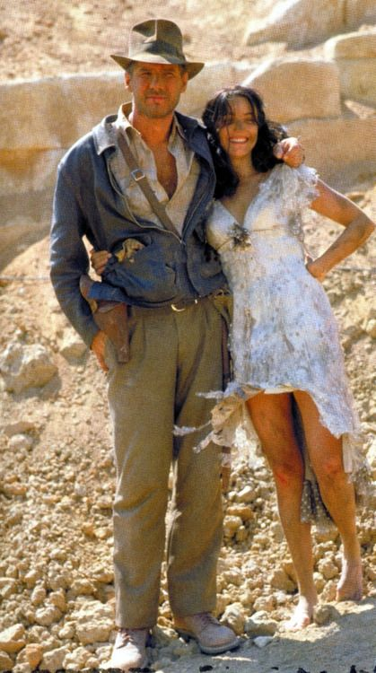 Harrison Ford and Karen Allen on location in Tunisia....Raiders of the Lost Ark.