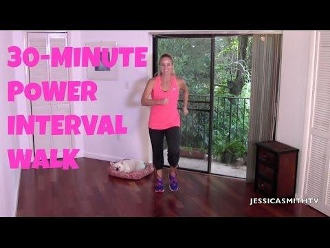 free indoor power interval walk, fat burning walking workout, walking exercise, interval walking | Jessica Smith TV Fitness YouTube Workout Videos