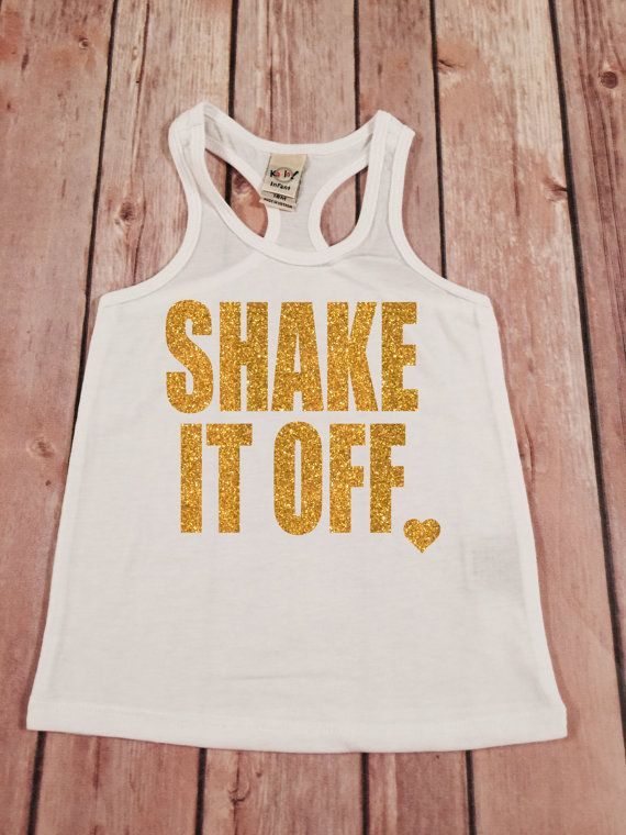 Shake it off Gold Sparkle Racerback Shirt Racerback Tee by SnowSew