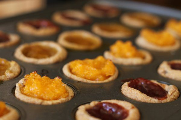 Whole wheat apricot or jam tarts. Easy, healthy, delicious.
