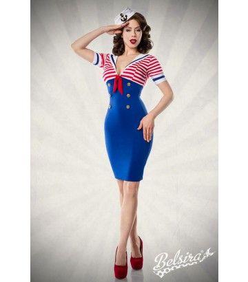 Robe pin,up rétro rockabilly style sailor. Rayé en haut, avec un petit col  marin. Longueur totale  environ. Livrée dans une boite coffret  présentation
