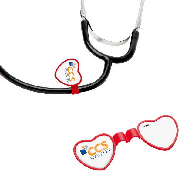 Heart Stethoscope ID Tag ST22 - Include this unique identification tag during wellness events, career fairs, or medical-themed promotions. With a large decorating area on the heart, no stethoscope should be without one! This item features a one piece, clamshell design that snaps together. It can be personalized, by hand, on the back side label. This promo item is an excellent choice for doctor offices, pediatricians and pharmaceutical companies. #propelpromo